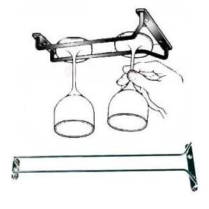 New, 16-Inch Long, Wine Glass Rack, Wire Hanging Rack, Wine Glass Hanging Rack, Wire Wine Glass Hanger Rack, Stemware Rack, Under Cabinet, Chrome Finish