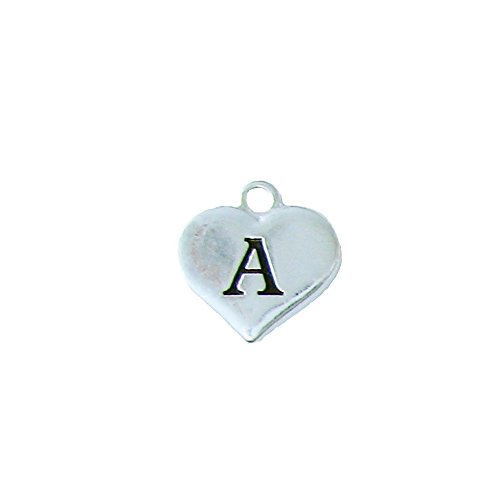 Custom Initial Silver Heart Charms To Add To Any Jewelry Item All 26 Letters (A) (Custom Charms compare prices)