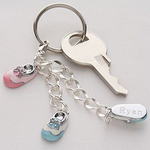 Personalized Sterling Silver Baby Bootie Keychain front-959262
