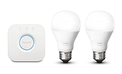 Philips Hue White Personal Wireless Lighting LED Starter Kit, 2 x 9.5 W E27 Hue White Bulbs, 1 x Hue Bridge 2.0, Apple Home Kit Enabled, Works with Alexa