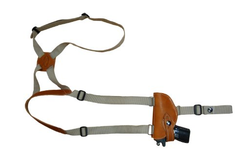 Barsony Saddle Tan Leather Gun Shoulder Holster for Small 380 and Ultra-Compact 9mm 40 45 from Barsony Holsters and Belts