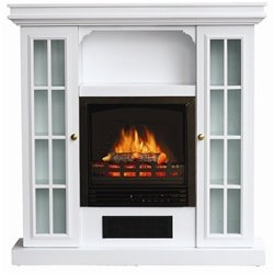 Stonegate White Storage Mantle Electric Fireplace Ventless Fireplaces