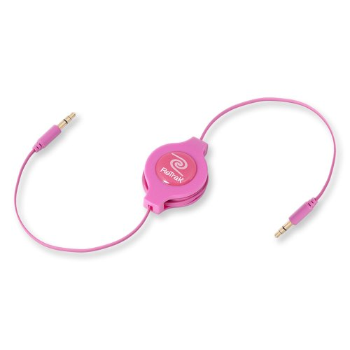 Retrak Retractable Aux 3.5Mm Audio Cable, Pink (Etcable35Pk)