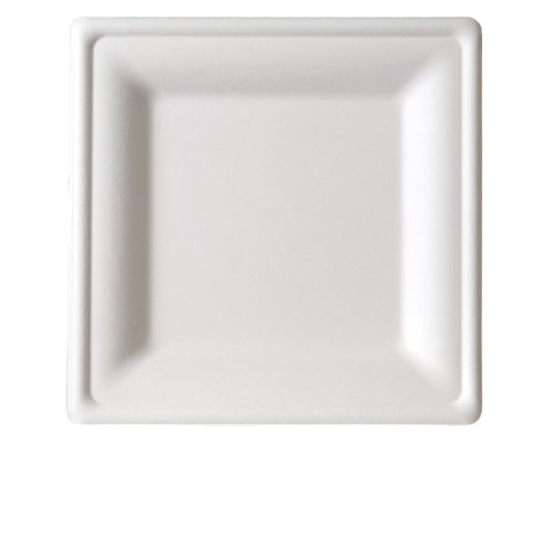 "Eco-Products Ep-P022 Medium Square Renewable Sugarcane Plate, 8"" Length X 8"" Width (10 Packs Of 50)"