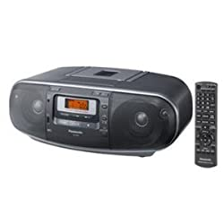 Panasonic RX-D55GC-K Boombox - High Power Portable Stereo AM/ FM Radio, MP3 CD , Tape Recorder with USB & Music Port High Quality Sound with 2-Way 4-Speaker (Black)