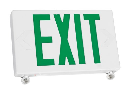 TCP 20685 2 LED Adjustable Exit/Emergency Combo, Green Letters with White Housing