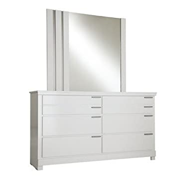 Standard Furniture Metropolitan 6 Drawer Dresser w/ Mirror in Glossy White