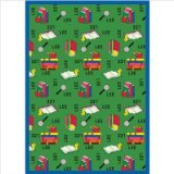 "Joy Carpets Kid Essentials Language & Literacy Spanish Bookworm Rug, Green, 7'8"" x 10'9"" - 1"