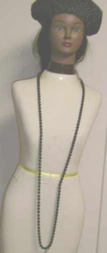 One Strand Simulated Onyx Pearl Long Chain Necklace and Earrings for Women and Teens Offered in Combination with Hand Crocheted Black Metallic Gimp Beret
