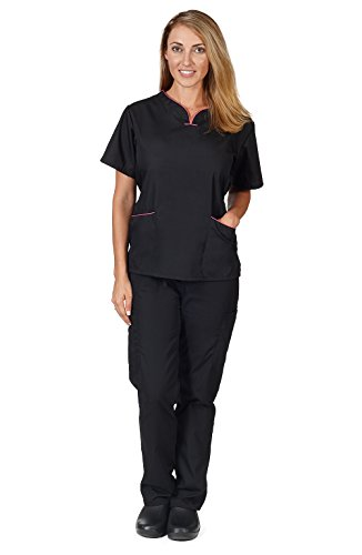 Natural Uniforms Womens Contrast Trim Scallop Scrub Set (Black) (M) (Natural Uniforms Scrubs compare prices)