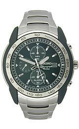 Seiko Alarm Chronograph Stainless Steel Men's watch #SNAB95
