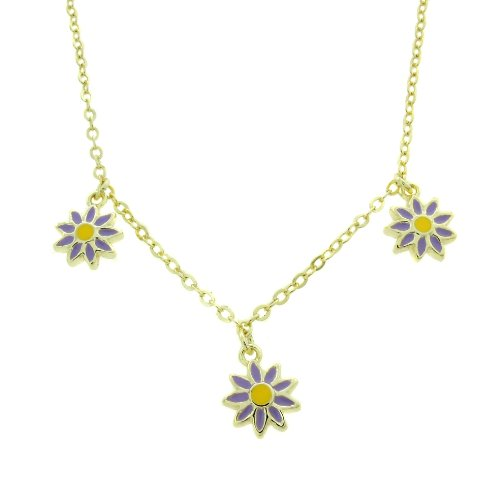 Lily Nily 18k Gold Overlay Children's Lavender Enamel Flowers Dangle Necklace