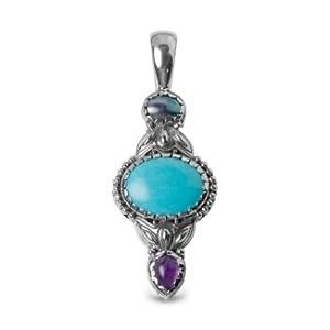 Southwest Spirit Sterling Silver Turquoise Amethyst Mabe Pearl Pendant Enhancer