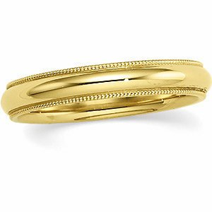 Genuine IceCarats Designer Jewelry Gift 14K Yellow Gold Wedding Band Ring Ring. 04.00 Mm Comfort Fit Milgrain Band In 14K Yellowgold Size 6