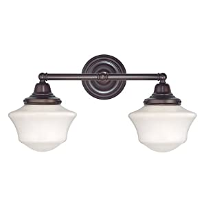 Schoolhouse Bathroom Light with Two Lights in Bronze Finish by Design Classics Lighting