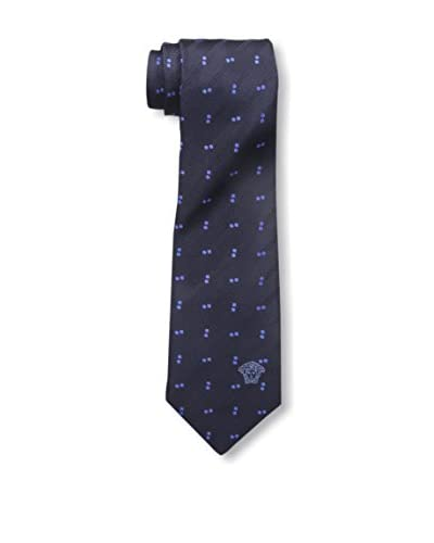 Versace Men's Patterned Silk Tie, Blue Dot