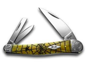 CASE XX Antique Bone Spider Web Seahorse Whittler Scrolled Bolster 1/500 Pocket Knives