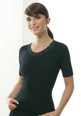 Medima Classic Damen-Hemd 1/4 Arm mit Spitze Plus Seide schwarz - Größe XL