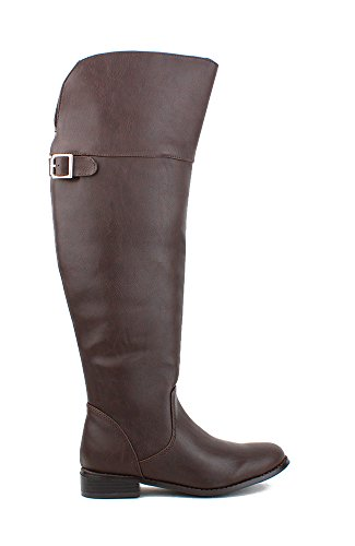Breckelles Rider-24 Over The Knee Buckle Riding Boot - Brown PU