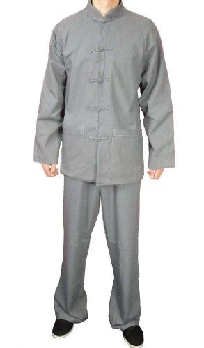 100-Baumwolle-Grau-Kung-Fu-Kampfkunst-Tai-Chi-Uniform-Anzug-XS-XL-oder-Von-Ma223schneider