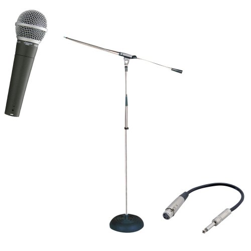 Pyle Mic And Stand Package - Pdmic58 Professional Moving Coil Dynamic Handheld Microphone - Pmks9 Heavy Duty Compact Base Boom Microphone Stand - Ppfmxlr01 12 Gauge 6 Inch 1/4'' To Xlr Female Cable