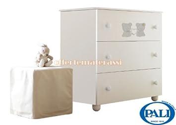Como Pali Maison Bebe in legno 3 cassetti infanzia arredamento cameretta (bianco)