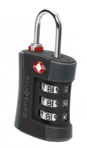 Samsonite TSA Travel Sentry 3-Dial Combination Lock with Sure-Grip Rubber - Black