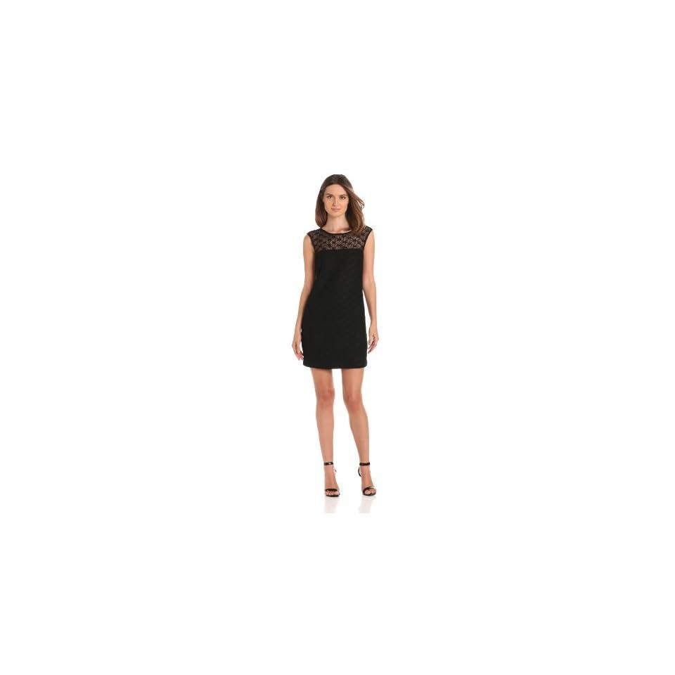 Trina Turk Womens Harriet Open Lace Cap Sleeve Dress, Black, 0