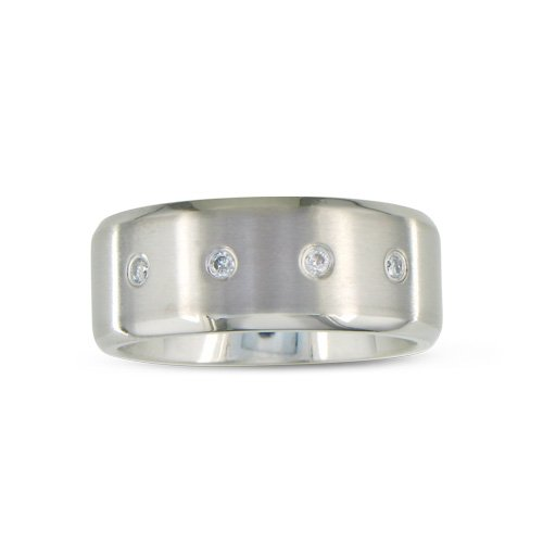 Titanium Wedding Band With 3 Nice Diamonds In Sizes 7.5 To 13