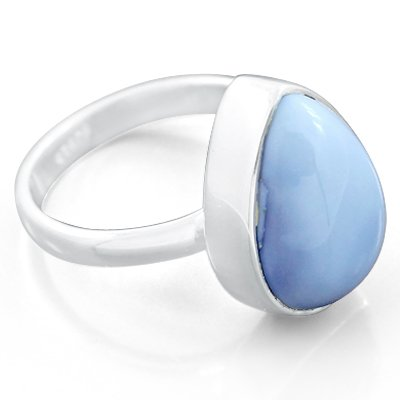 925 Sterling Silver Blue Opal Natural Solitaire Gemstone Designer Fashion Christmas Gift Promise Ring Size 7 Antique Style Jewelry