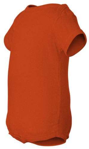 Rabbit Skins Infant Baby Rib Lap Shoulder Bodysuit (Orange) (NB)