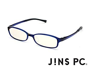 JINS PC Glasses Computer Eyewear Navy (Light Brown Lenses, Cuts blue Light by 50%)