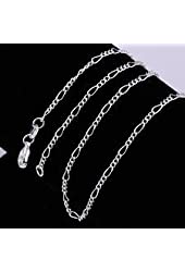 """Silver Plated Figaro Chain Necklace 2mm 24"""""""