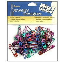 Darice Jewelry Designer Safety Pins #1 Colors 53 Piece (Pack of 3)