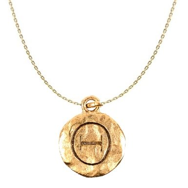 "Chelsea Hill ""Theta"" Greek Sorority Symbol Necklace, Gold-Tone Hammered Pewter"