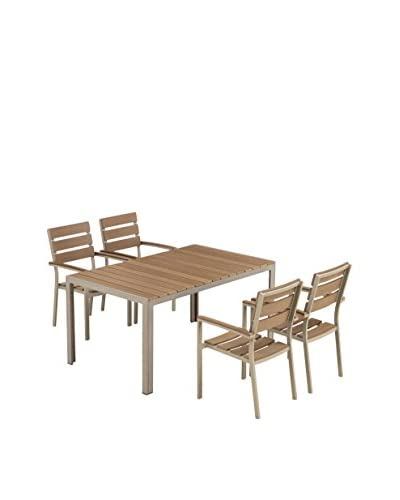 Ceets Bow 4-Seat Outdoor Dining Set, Brown