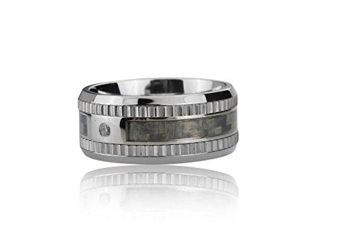 [253-0195-R-12-SLV/GRY] Stainless Steel Ring with Grey Carbon Fiber Inlay