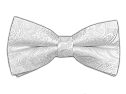 100% Woven Silk White Paisley Self-Tie Bow Tie