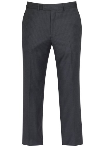 Brook Taverner Cromford Suit Trousers in Grey with Navy Stripe 42L