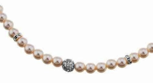 Oliver Weber 8837 Pearl Necklace with Swarovski Crystal Beads, Rhodium Plated, 43cm Length