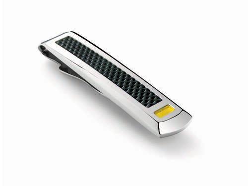 LAMBORGHINI Stainless Steel Carbon Fiber Tie Bar w/ Yellow Lacuqer
