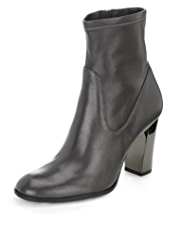Autograph Leather Block High Heel Ankle Boots with Insolia®