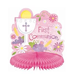 hc centerpiece 10 first communion pink