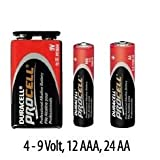 Duracell Procell Bulk 40 Pack - AA, AAA, 9 Volt Alkaline Batteries Assortment
