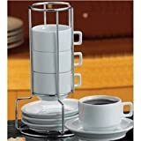 Harold Import Stackable Porcelain Demi Cup & Saucer Set, 9pc