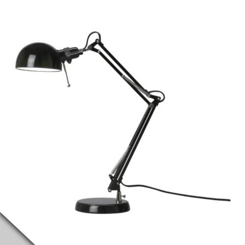 Ikea - Forså Work Lamp, Black + E12 Led Bulb