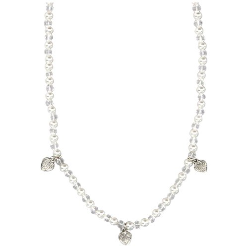 White Crystal Glass Beads and Pearls with Silver Tone Hearts Charm Necklace 16