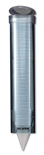 """San Jamar C3165 Medium Pull Type Water Cup Dispenser, Fits 4oz to 10oz Cone and Flat Cup Size, 2-1/4"""" to 3-1/4"""" Rim, 16"""" Tube Length, Arctic Blue"""