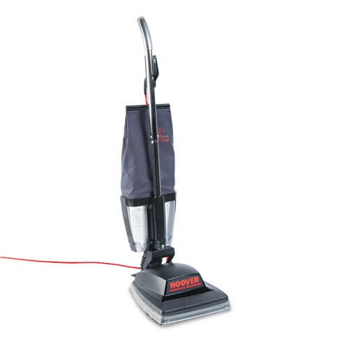 "Hoover Products - Hoover - Commercial Guardsman Bagless Upright Vacuum, 16 lbs, Black - Sold As 1 Each - Commercial-grade motor with extra-strong polycarbonate base. - E-Z EmptyTM Dirt Cup eliminates bags. - Four-position height adjustment, furniture guard, all-steel two-brush agitator, 12"" cleaning width with dual edge cleaning and finger-tip on/off switch. - 3-positioned handle lays flat for low clearance cleaning. -"