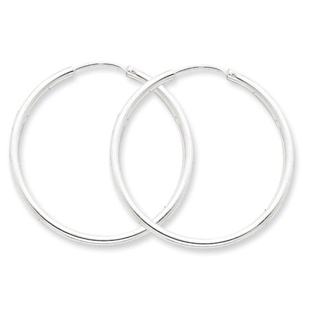 2mm, Silver, Endless Hoop Earrings - 40mm (1-1/2